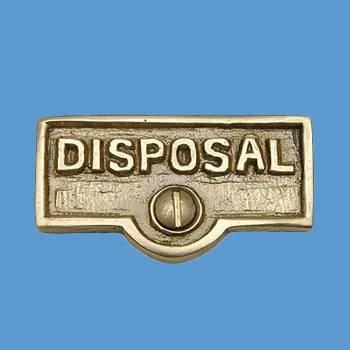 <PRE>Switch Plate Tags DISPOSAL Name Signs Labels Solid Brass </PRE>zoom2