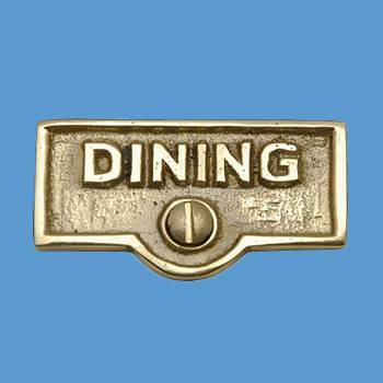 <PRE>Switch Plate Tags DINING Name Signs Labels Lacquered Brass </PRE>zoom2