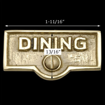 spec-<PRE>Switch Plate Tags DINING Name Signs Labels Lacquered Brass </PRE>