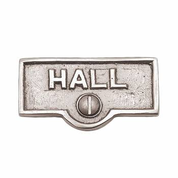 Switch Plate Tags HALL Name Signs Labels Chrome Brass 17595grid