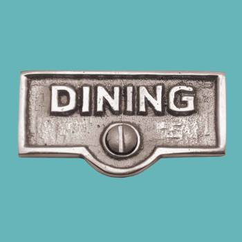 <PRE>Switch Plate Tags DINING Name Signs Labels Chrome Brass </PRE>zoom2