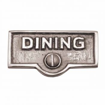 Switch Plate Tags DINING Name Signs Labels Chrome Brass 17601grid