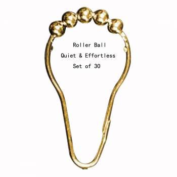 Shower Curtain Roller Rings Brass Set of 30