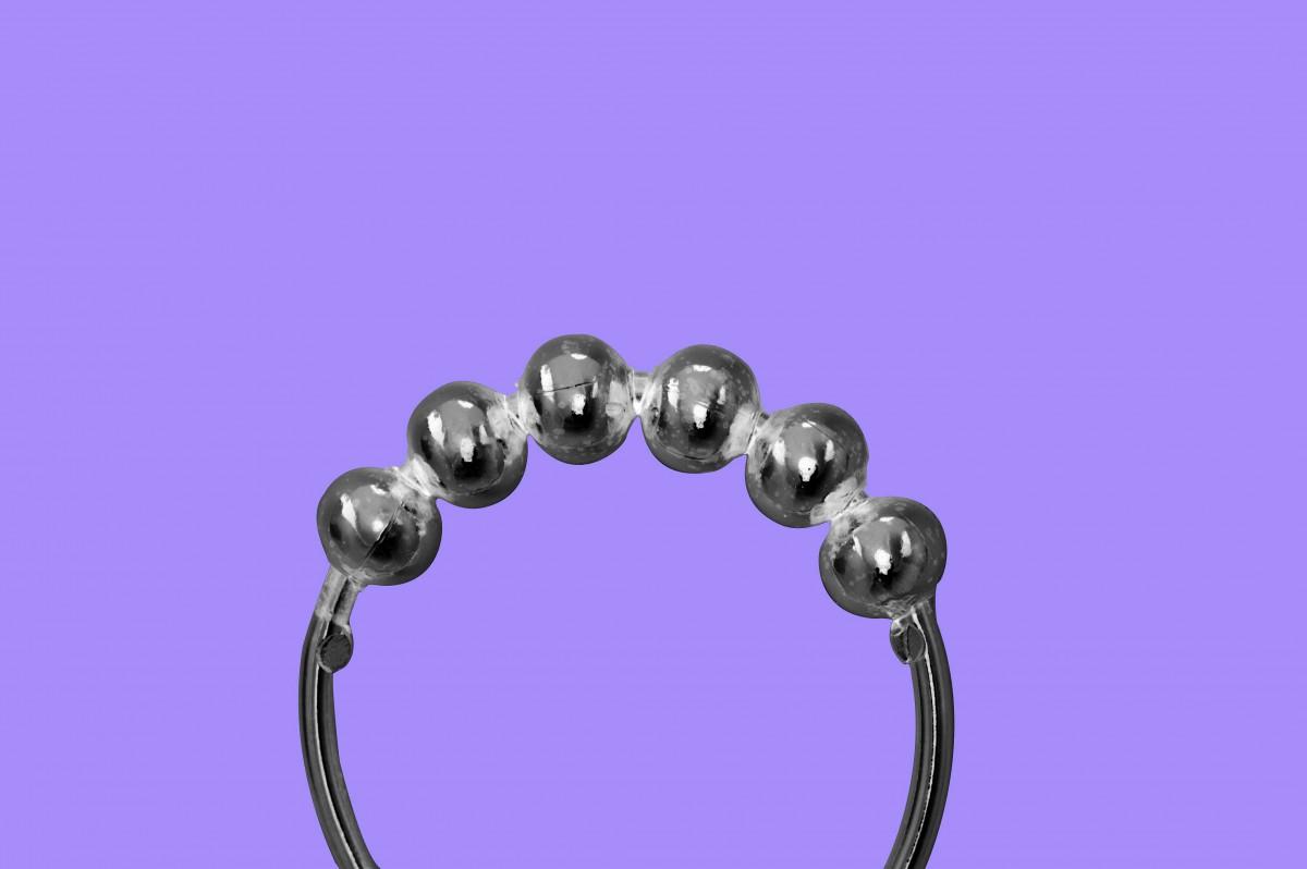 PRESolid Brass Shower Curtain Hook Ring Roller Ball 30 In Set