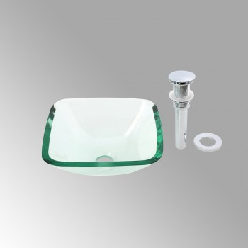 Tempered Glass Vessel Sink with Drain Clear Square Mini Bowl Sink