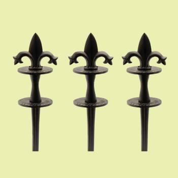 <PRE>Hose Guides Black Aluminum Double Fleur De Lis Pack of 3 </PRE>