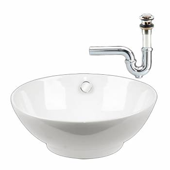 Bathroom Vessel Sink White Watts Ceramic Drain/P-Trap 17631grid