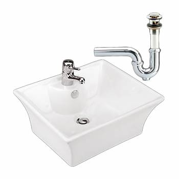 Bathroom Vessel Sink White Newcastle Ceramic Drain/P-Trap 17634grid