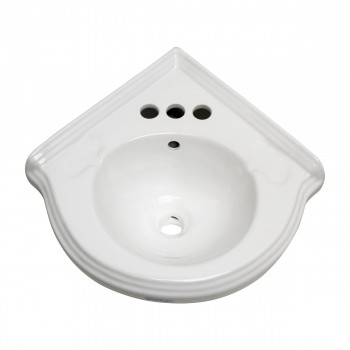 <PRE>Bathroom Corner Sink White China Wall Mount Drain/p-trap </PRE>zoom3