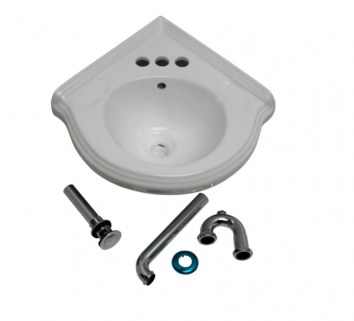 Bathroom Corner Sink White China Wall Mount Drain/p Trap