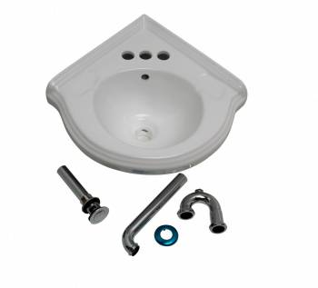 Bathroom Corner Sink White China Wall Mount Drain/p-trap 17636grid
