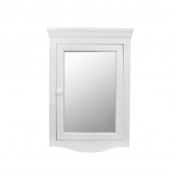 Bethpage Corner Surface Wall Mount Wooden Medicine Cabinet in White with Mirror17662grid