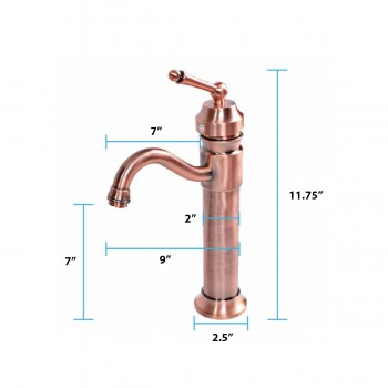 "spec-<PRE>Antique Copper Bathroom Faucet Single Handle 11-3/4"" Tall </PRE>"