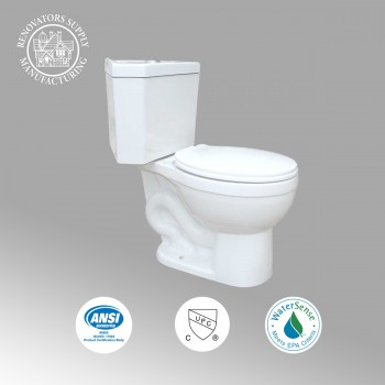 Toilets - Water Saver Corner Toilet Top Dual Flush Round White Bowl by the Renovator's Supply