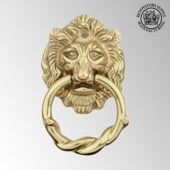 <PRE>Door Knocker Lion Cast Brass 6 1/4 H x 3 5/8 W </PRE>