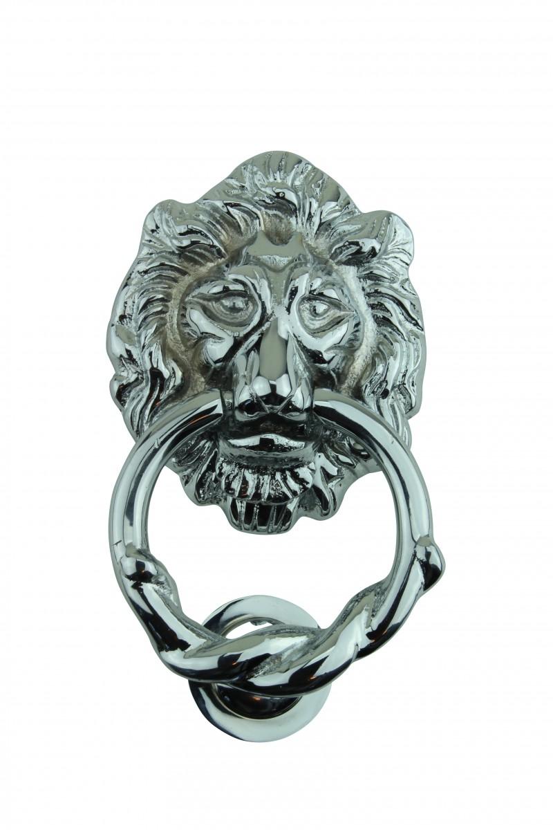 ... U003cPREu003eLarge Chrome Cast Brass Lion Head Door Knocker 6 1/4 Inch ...