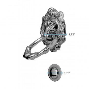 spec-<PRE>Large Chrome Cast Brass Lion Head Door Knocker 6 1/4 Inch X 3 5/8 Inch</PRE>