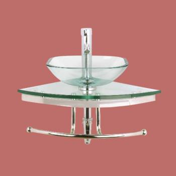 Mini Corner Glass Sink Wall Mount  Clear Square Basin - Glass sinks, Glass sink info & unique Glass accessories, quantity discounts on Glass sinks, Glass pedestal sinks, Glass wall mount sinks, Glass console sinks, counter top Glass sinks, Glass counter top sinks, Glass pedestal sinks, bathroom fixtures, Glass bathroom sinks, sink faucets & free shipping by Renovator's Supply.
