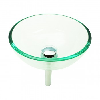 <PRE>Bathroom Tempered Glass Vessel Sink Clear Mini Bowl Round with Popup Drain</PRE>zoom3