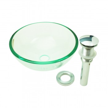 <PRE>Bathroom Tempered Glass Vessel Sink Clear Mini Bowl Round with Popup Drain</PRE>zoom7