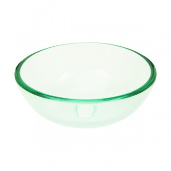 Round Tempered Glass Bathroom Vessel Clear Mini Bowl Sink with Popup Drain 17683grid