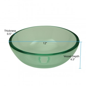 spec-<PRE>Bathroom Tempered Glass Vessel Sink Clear Mini Bowl Round with Popup Drain</PRE>