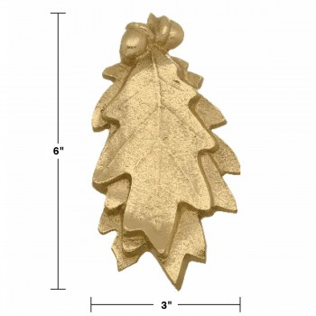 "spec-<PRE>Solid Brass Door Knocker Oak Leaf 6""H x 3""W </PRE>"