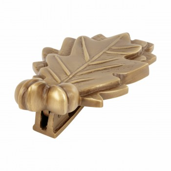 "<PRE>Door Knocker Antique Brass Oak Leaf 6inchH x 3""W </PRE>zoom5"