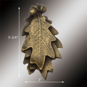 spec-<PRE>Door Knocker Antique Brass Oak Leaf 6&quot;H x 3&quot;W </PRE>