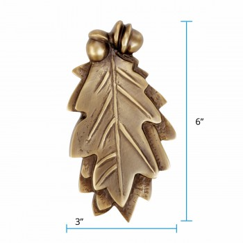 "spec-<PRE>Door Knocker Antique Brass Oak Leaf 6""H x 3""W </PRE>"