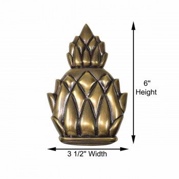 spec-<PRE>Door Knocker Antique Brass Pineapple 6&quot;H </PRE>