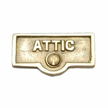 Switch Plate Tags ATTIC Name Signs Labels Lacquered Brass 17704grid