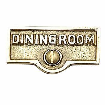DINING ROOM Switch Tag Polished Lacquered Brass