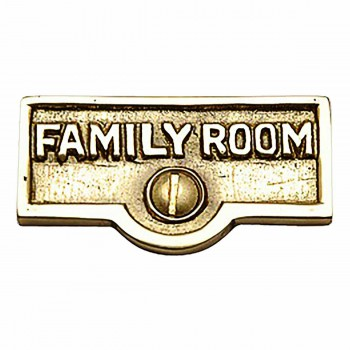 Switch Plate Tags FAMILY ROOM Name Signs Labels Brass 17715grid