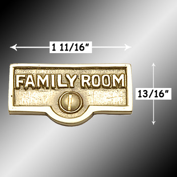 spec-<PRE>Switch Plate Tags FAMILY ROOM Name Signs Labels Brass </PRE>