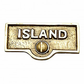 Switch Plate Tags ISLAND Name Signs Labels Lacquered Brass 17720grid