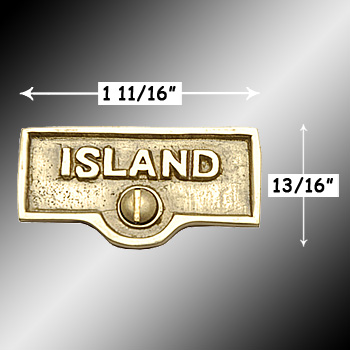 spec-<PRE>Switch Plate Tags ISLAND Name Signs Labels Lacquered Brass </PRE>