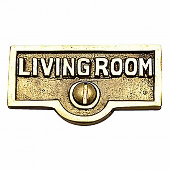 Switch Plate Tags LIVING ROOM Name Signs Labels  Brass 17723grid