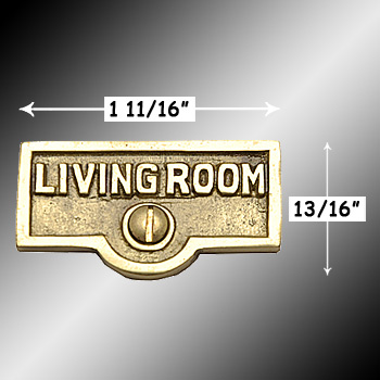 spec-<PRE>Switch Plate Tags LIVING ROOM Name Signs Labels  Brass </PRE>