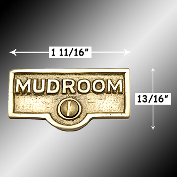 spec-<PRE>Switch Plate Tags MUDROOM Name Signs Labels Lacquered Brass </PRE>