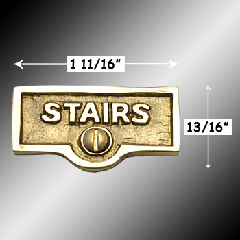 spec-<PRE>Switch Plate Tags STAIRS Name Signs Labels Lacquered Brass </PRE>