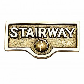 Switch Plate Tags STAIRWAY Name Signs Label Lacquered Brass 17732grid
