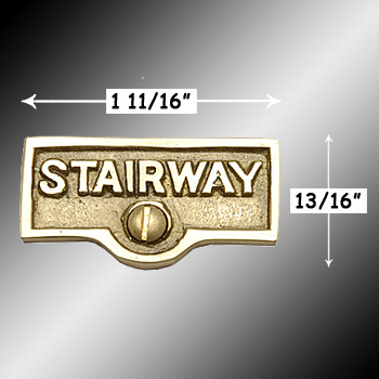 spec-<PRE>Switch Plate Tags STAIRWAY Name Signs Label Lacquered Brass </PRE>