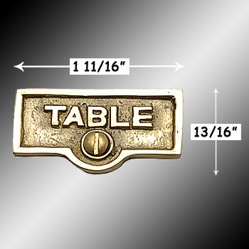 spec-<PRE>Switch Plate Tags TABLE Name Signs Labels Lacquered Brass </PRE>