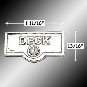 spec-<PRE>Switch Plate Tags DECK Name Signs Labels Chrome Brass </PRE>