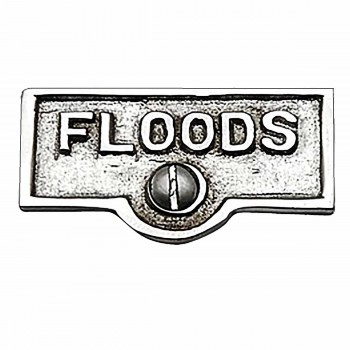 Switch Plate Tags FLOODS Name Signs Labels Chrome Brass 17748grid