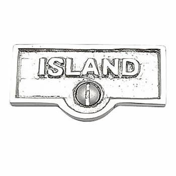 Switch Plate Tags ISLAND Name Signs Labels Chrome Brass 17751grid