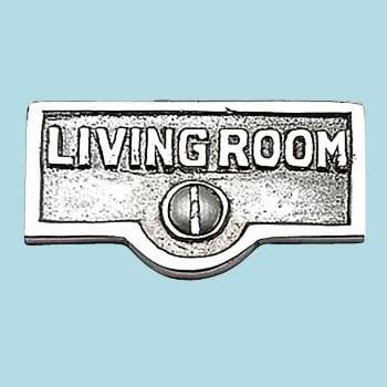 <PRE>Switch Plate Tags LIVING ROOM Name Sign Labels Chrome Brass </PRE>zoom2