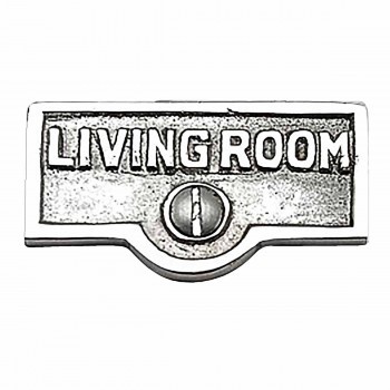 Switch Plate Tags LIVING ROOM Name Sign Labels Chrome Brass 17754grid