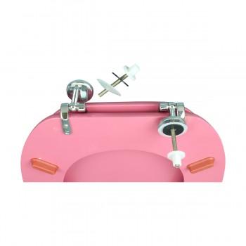 <PRE> Pink Hard Wood Toilet Seat Elongated Chrome Brass Hinge </PRE>zoom6